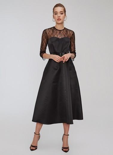 People By Fabrika Dantel Detaylı Saten Elbise Siyah